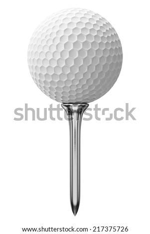 Golf ball and metal tee, isolated on white - stock photo
