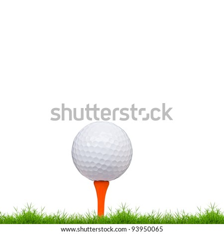 golf ball and tee on green grass isolated on white background