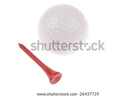 Golf ball and tee on white