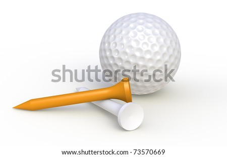 Golf ball and tees - stock photo