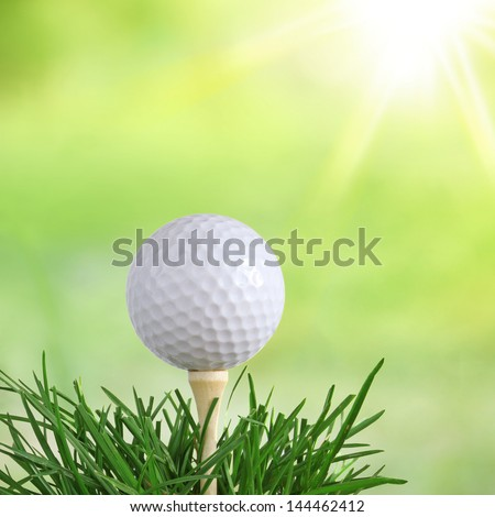 Golf Ball at Dawn in Green Long Grass isolated on white - stock photo