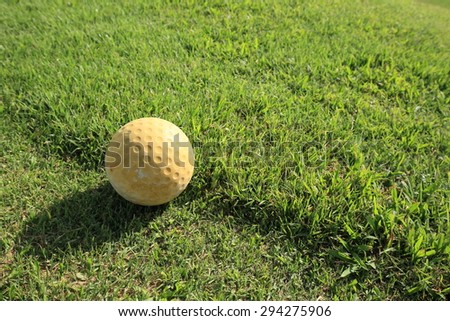 golf ball at the beautiful golf course - stock photo