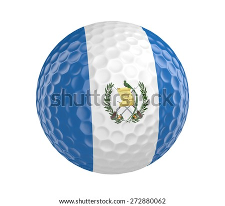 Golf ball 3D render with flag of Guatemala, isolated on white - stock photo