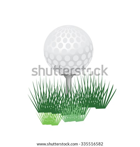 Golf ball, golf ball isolated, golf tee, golf ball on tee