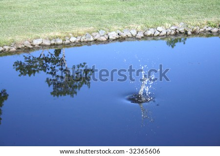 Golf ball hits the water - stock photo