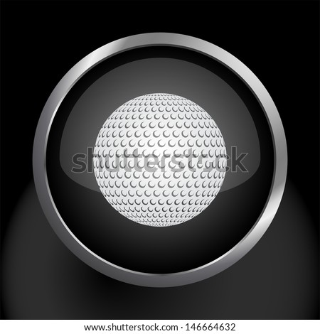 Golf Ball Icon Symbol. Raster version, vector also available.