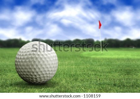 golf ball in a course with striking colours - stock photo