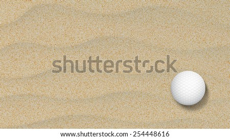 Golf ball in a sand trap looking top down - stock photo