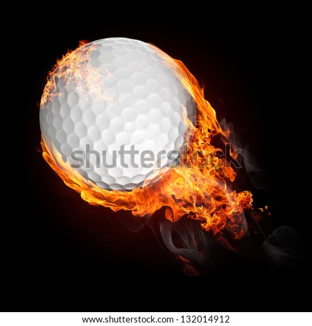 Golf ball in fire flying up - illustration - stock photo