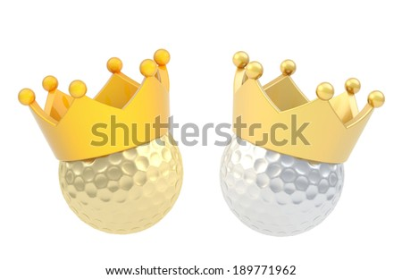 Golf ball in the crown isolated over the white background, set of two color versions - stock photo
