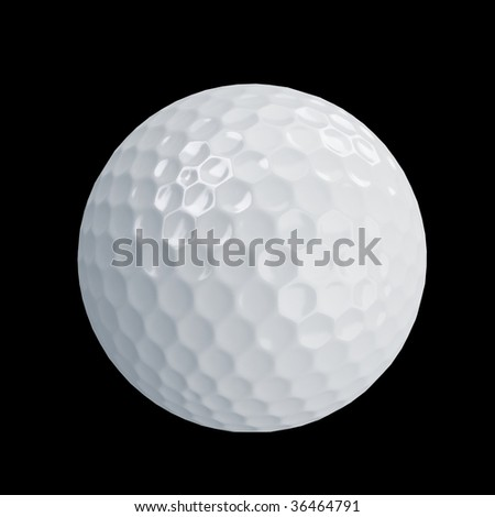 golf ball isolated on black - stock photo