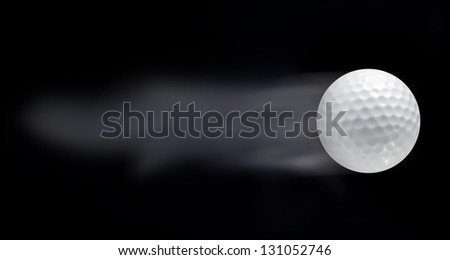 Golf ball leaving trails behind on black background - stock photo