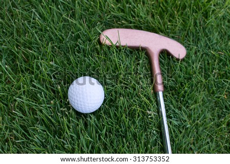 golf ball lying on the grass next to the stick, close of putter and ball - stock photo