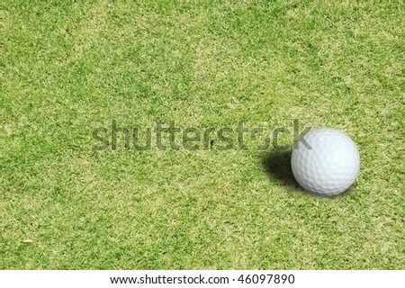 Golf ball of white background