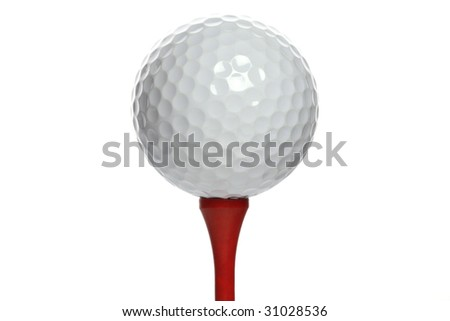 Golf ball on a red wooden tee on white background