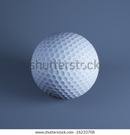 Golf ball on dark blue background (3d rendering)