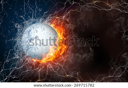 Golf ball on fire and water with lightening around on black background. Horizontal layout with text space. - stock photo