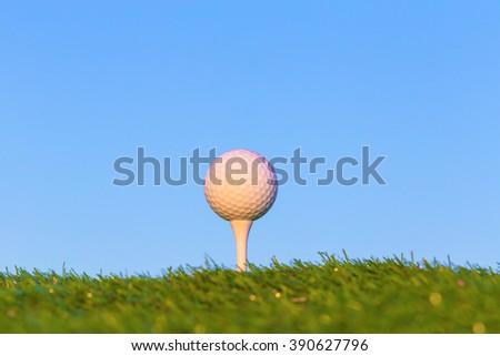 Golf ball on grass. - stock photo