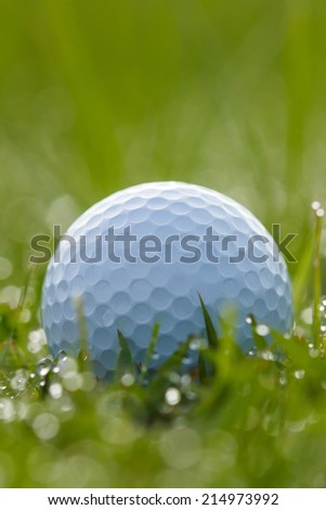 Golf ball on grass with water drops and bokeh - stock photo