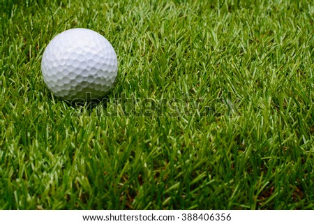 Golf ball on green. background. Copy space. - stock photo