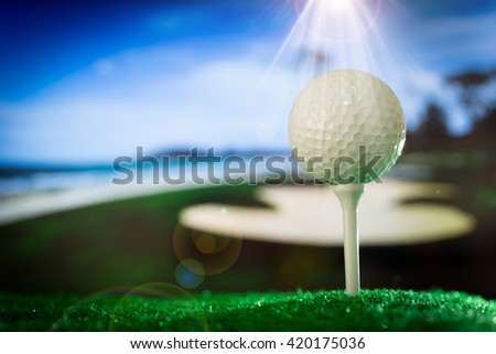 Golf ball on green grass. The background is a golf course. - stock photo