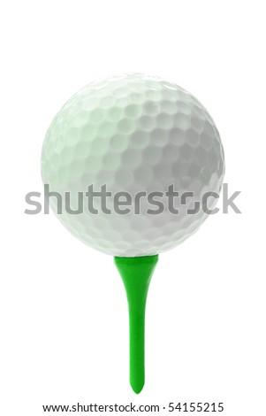 Golf ball on green tee. - stock photo