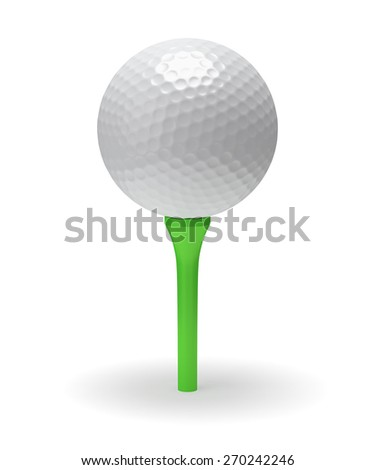 Golf ball on green tee 3D illustration isolated on white background - stock photo