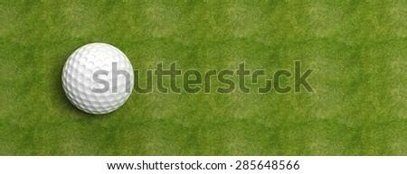 Golf ball on green turf banner - stock photo