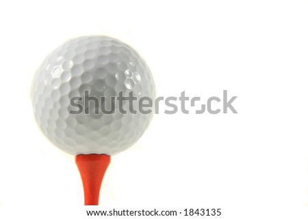 Golf Ball on Orange Tee, White Background