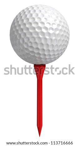 golf ball on red tee on white background. clipping path included - stock photo