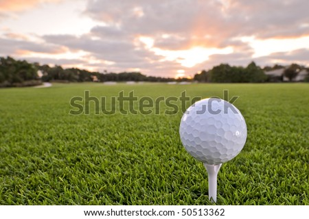 golf ball on tee of florida tropical course at dawn