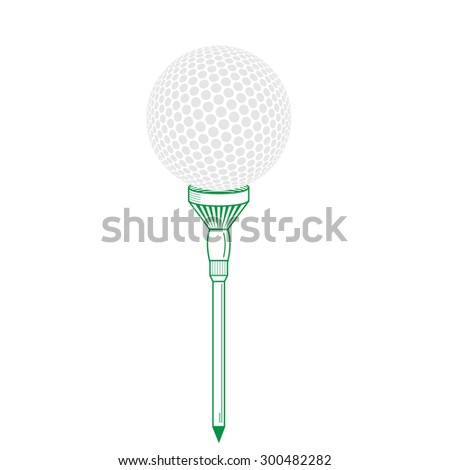 Golf ball on tee realistic  illustration.  golf ball isolated on white. Golf tee of Engraving style with ball. Colorful tee and golf ball - stock photo