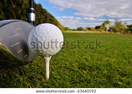 golf ball on tee with driver club ready with morning dewy grass