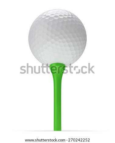 Golf ball on tee with shadow 3D illustration isolated on white background, view from below - stock photo