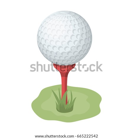 Golf ball on the stand.Golf club single icon in cartoon style bitmap,rastr symbol stock illustration web.