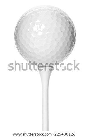 Golf ball on white tee - isolated white background  - stock photo