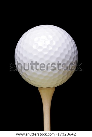 Golf Ball On Wooden Tee, Black Background - stock photo