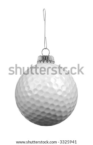 Golf ball ornament on a metal hook isolated over white - stock photo