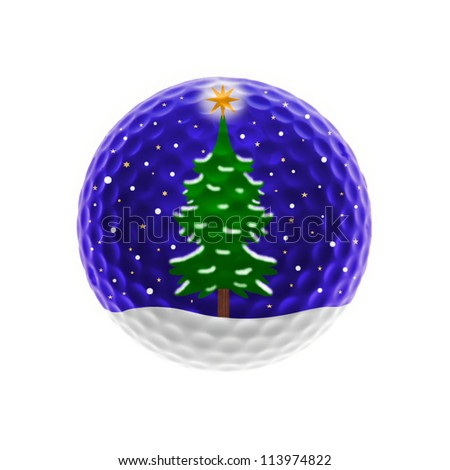 Golf-ball with christmas scene - isolated on white - stock photo
