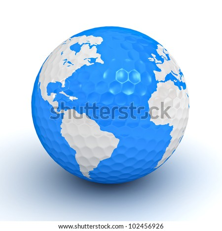 Golf ball with globe map on white background - stock photo
