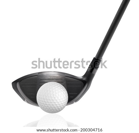 golf ball with golf driver isolate on white - stock photo