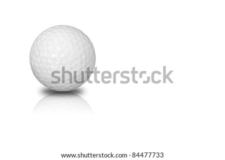 Golf ball with reflect isolated on white background and copy space - stock photo