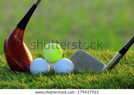Golf Balls and Drivers - stock photo