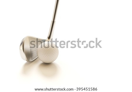 Golf balls and golf clubs on a white background 3d rendering.