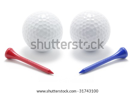 Golf Balls and Tees on White Background - stock photo