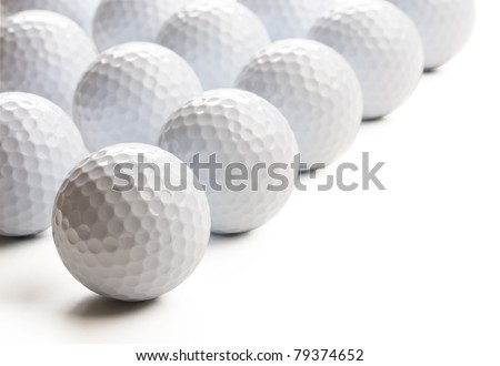 Golf balls isolated on white background. - stock photo