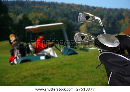 golf car with a golf bag - stock photo