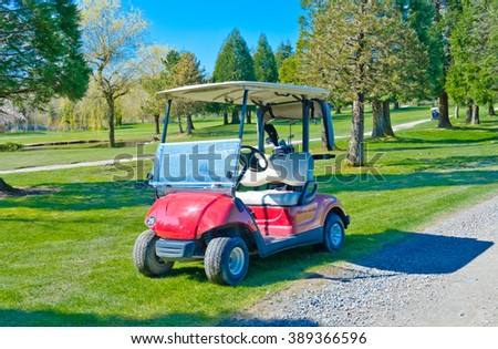 Golf cart,buggy at the beautiful golf course.