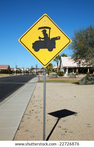 golf cart crossing sign - stock photo