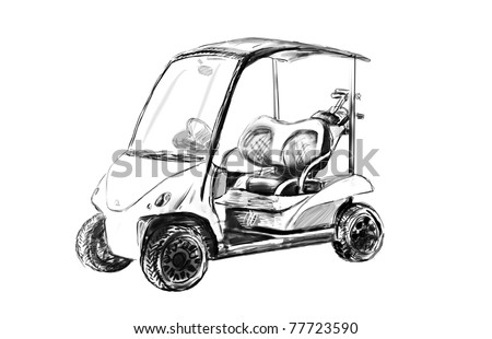 golf cart - illustration sketch - stock photo